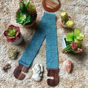 {Anthropologie} Turquoise Beaded Wood Waist Belt